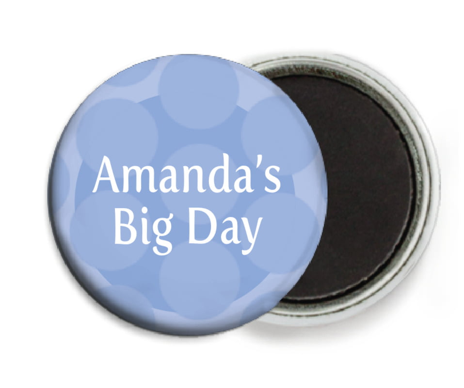 custom button magnets - periwinkle - swiss dots (set of 6)