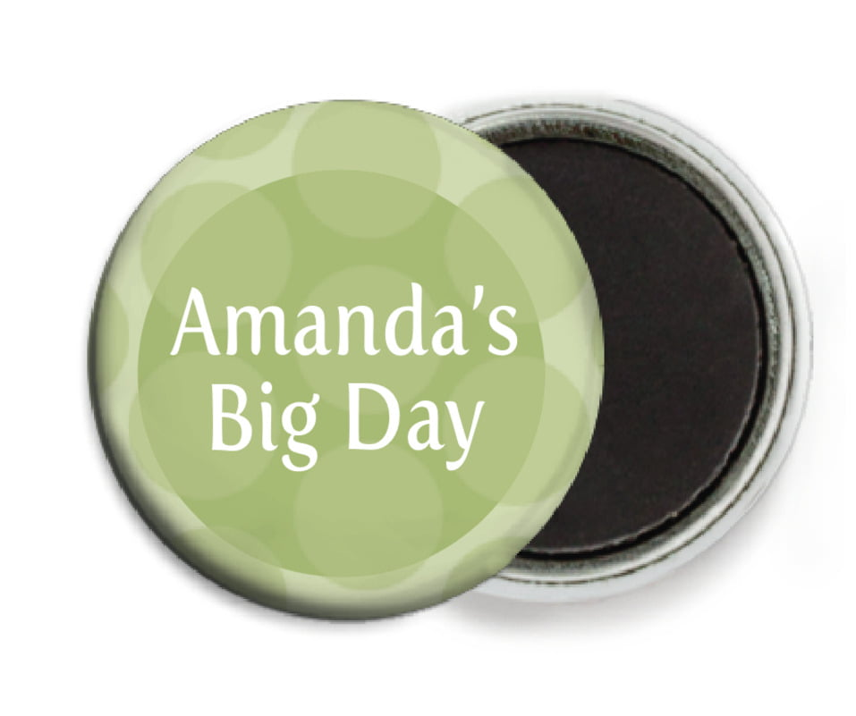 custom button magnets - green tea - swiss dots (set of 6)