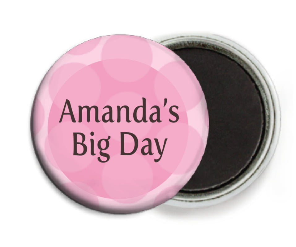 custom button magnets - pale pink - swiss dots (set of 6)