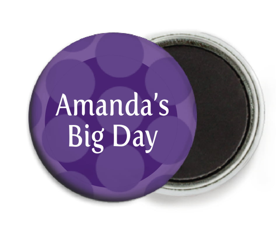 custom button magnets - purple - swiss dots (set of 6)