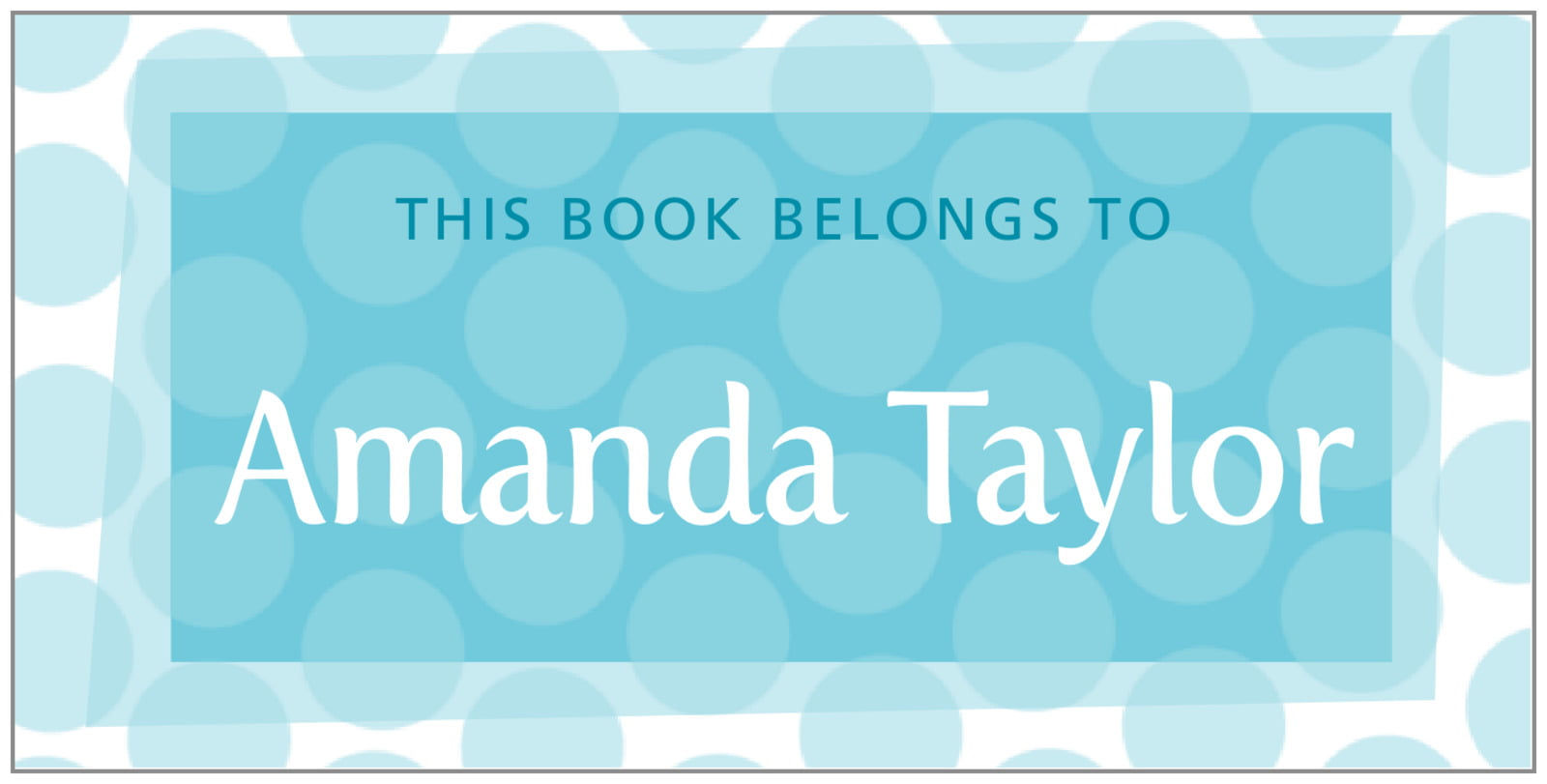 bookplates for everyone - bahama blue - swiss dots (set of 24)