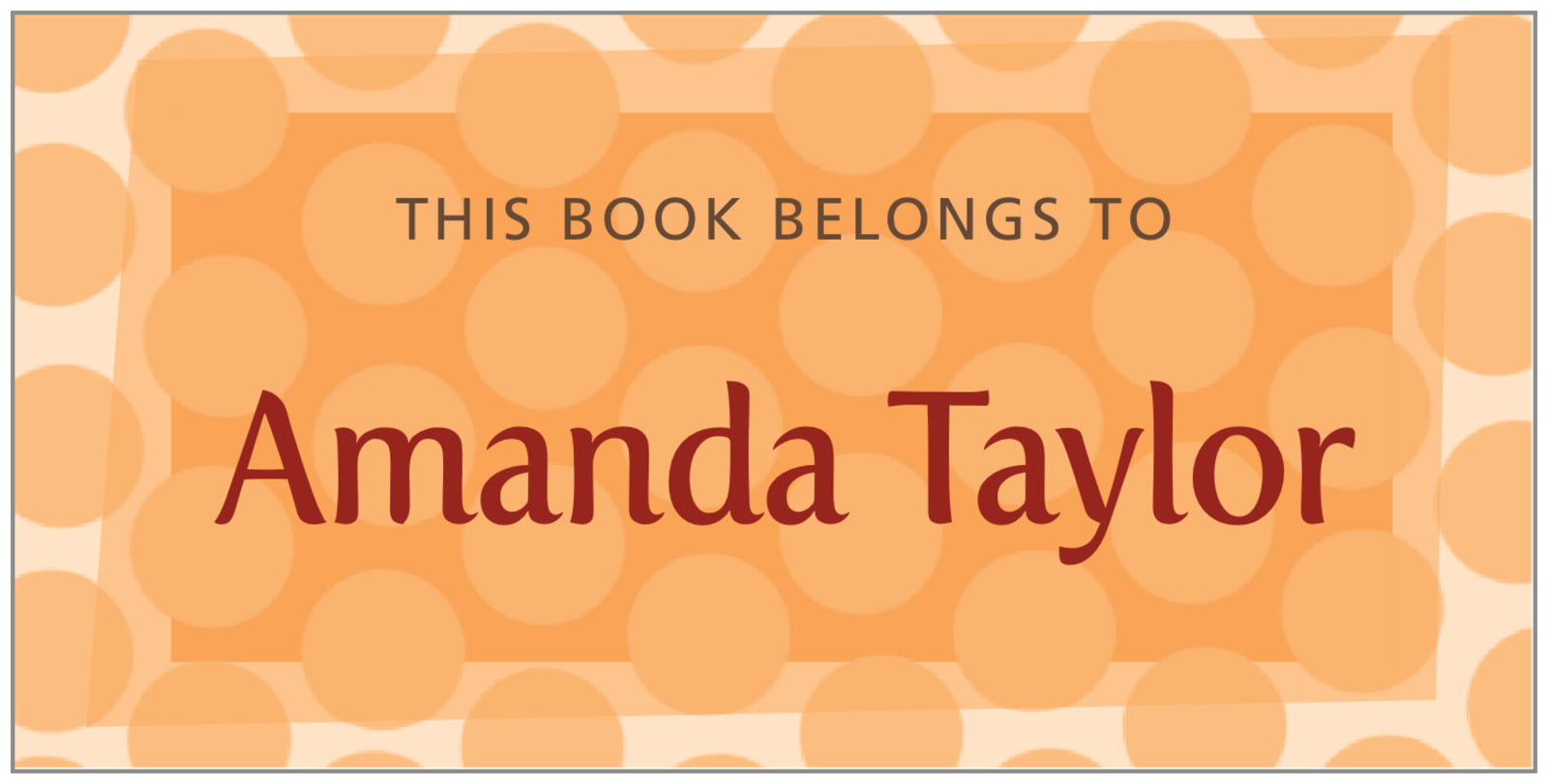 bookplates for everyone - tangerine - swiss dots (set of 24)