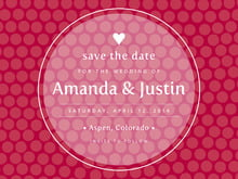 custom save-the-date cards - deep red - swiss dots (set of 10)