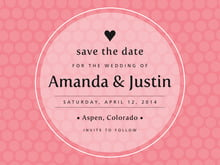custom save-the-date cards - grapefruit - swiss dots (set of 10)