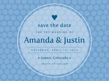custom save-the-date cards - blue - swiss dots (set of 10)