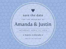 custom save-the-date cards - periwinkle - swiss dots (set of 10)