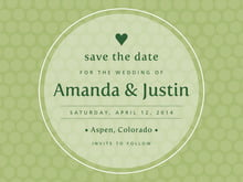 custom save-the-date cards - green tea - swiss dots (set of 10)