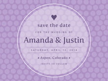 custom save-the-date cards - lilac - swiss dots (set of 10)