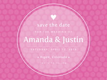 custom save-the-date cards - bright pink - swiss dots (set of 10)
