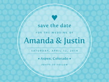 custom save-the-date cards - bahama blue - swiss dots (set of 10)