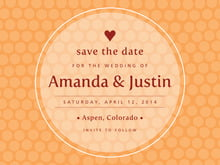 custom save-the-date cards - tangerine - swiss dots (set of 10)