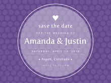 custom save-the-date cards - purple - swiss dots (set of 10)