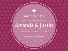 custom save-the-date cards - burgundy - swiss dots (set of 10)