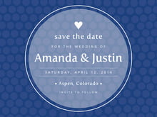 custom save-the-date cards - deep blue - swiss dots (set of 10)