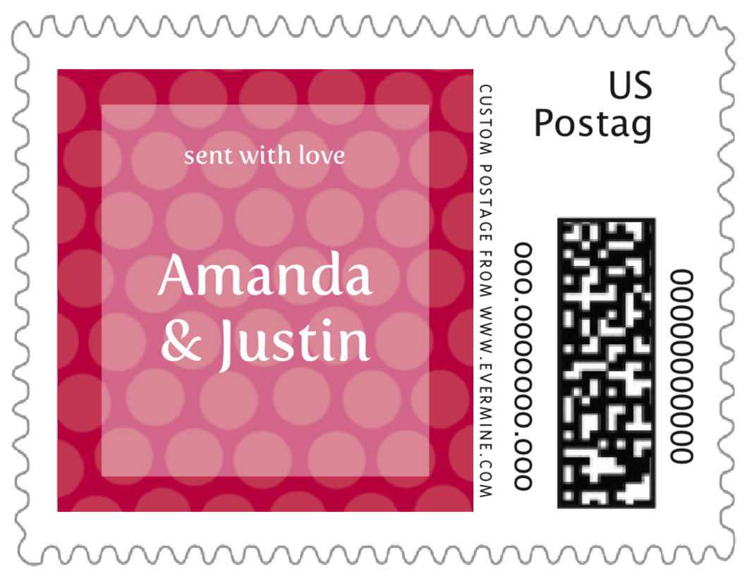 small custom postage stamps - deep red - swiss dots (set of 20)