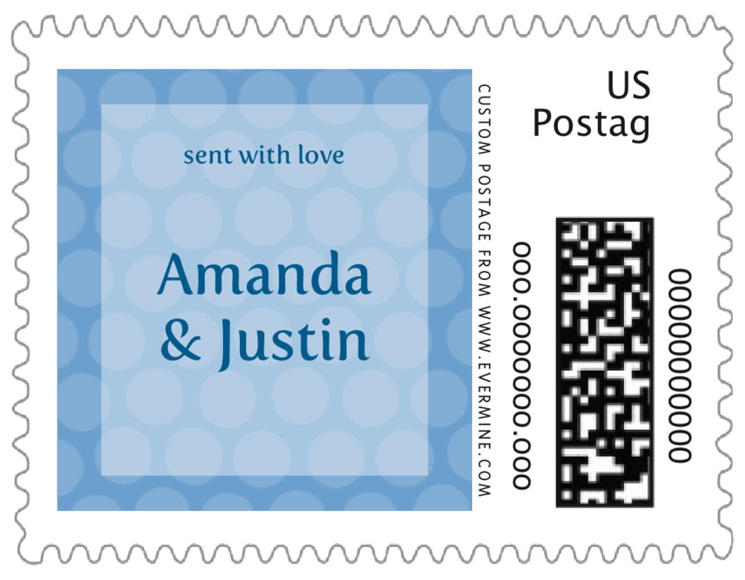 small custom postage stamps - blue - swiss dots (set of 20)