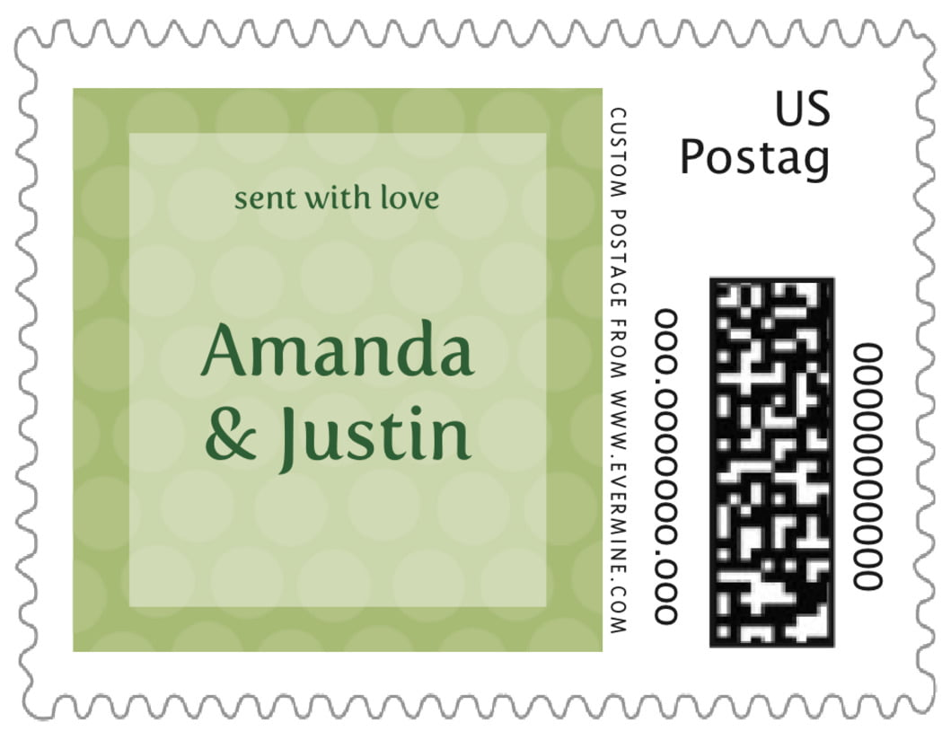 small custom postage stamps - green tea - swiss dots (set of 20)