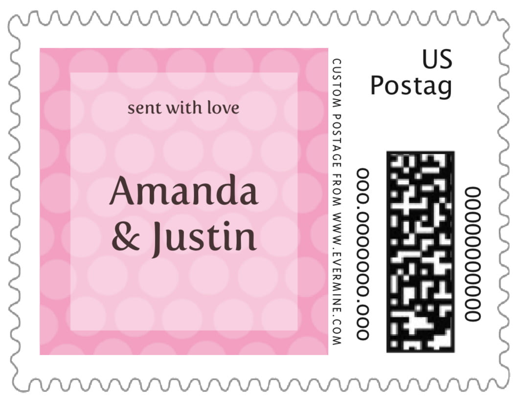 small custom postage stamps - pale pink - swiss dots (set of 20)