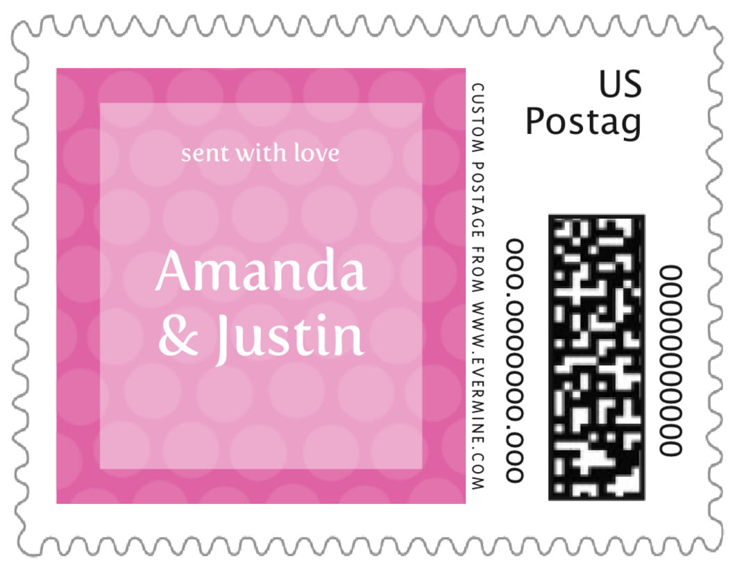 small custom postage stamps - bright pink - swiss dots (set of 20)