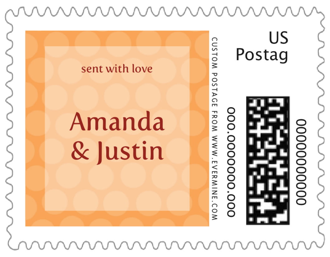 small custom postage stamps - tangerine - swiss dots (set of 20)