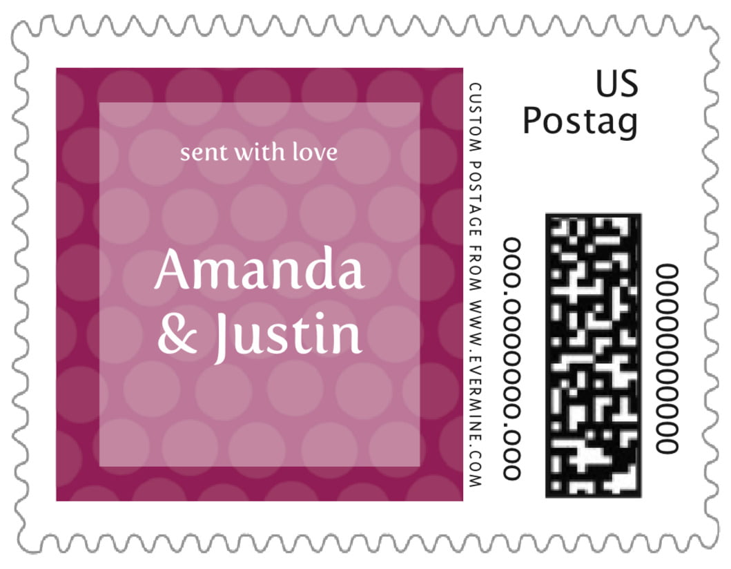small custom postage stamps - burgundy - swiss dots (set of 20)