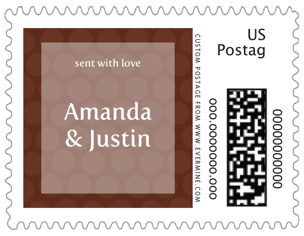 small custom postage stamps - chocolate - swiss dots (set of 20)