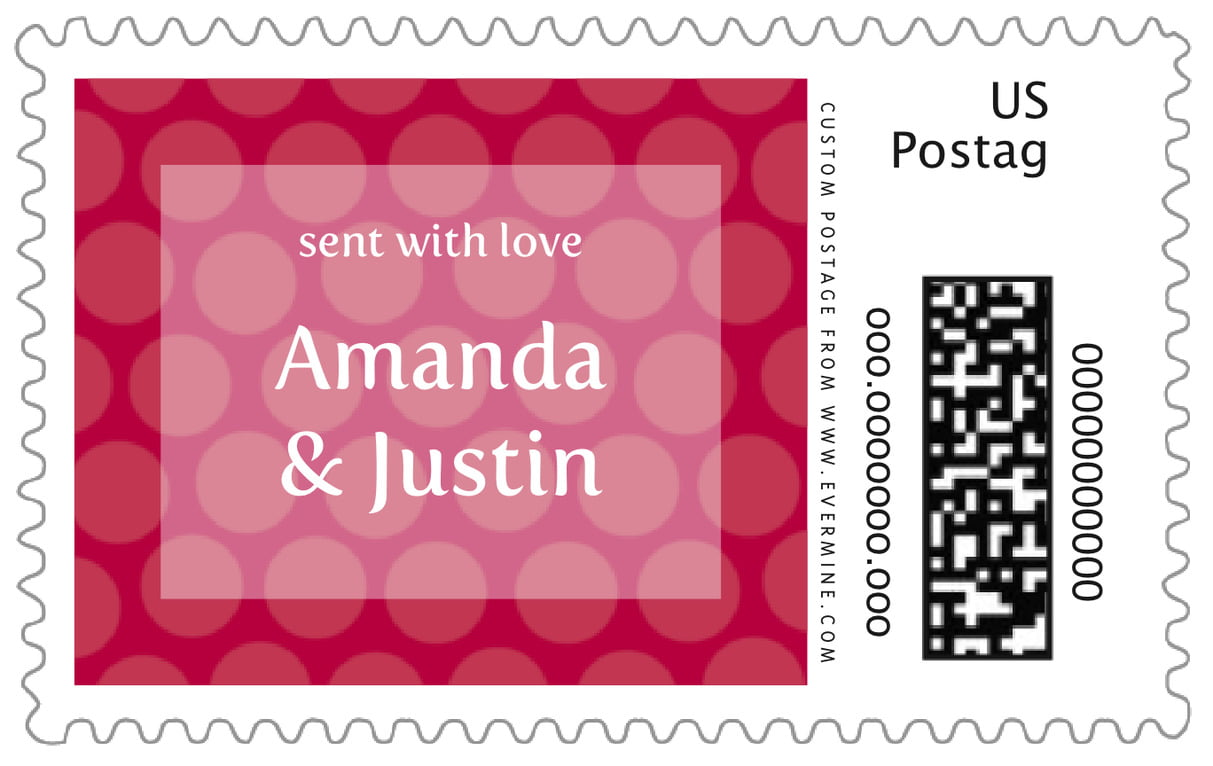 custom large postage stamps - deep red - swiss dots (set of 20)