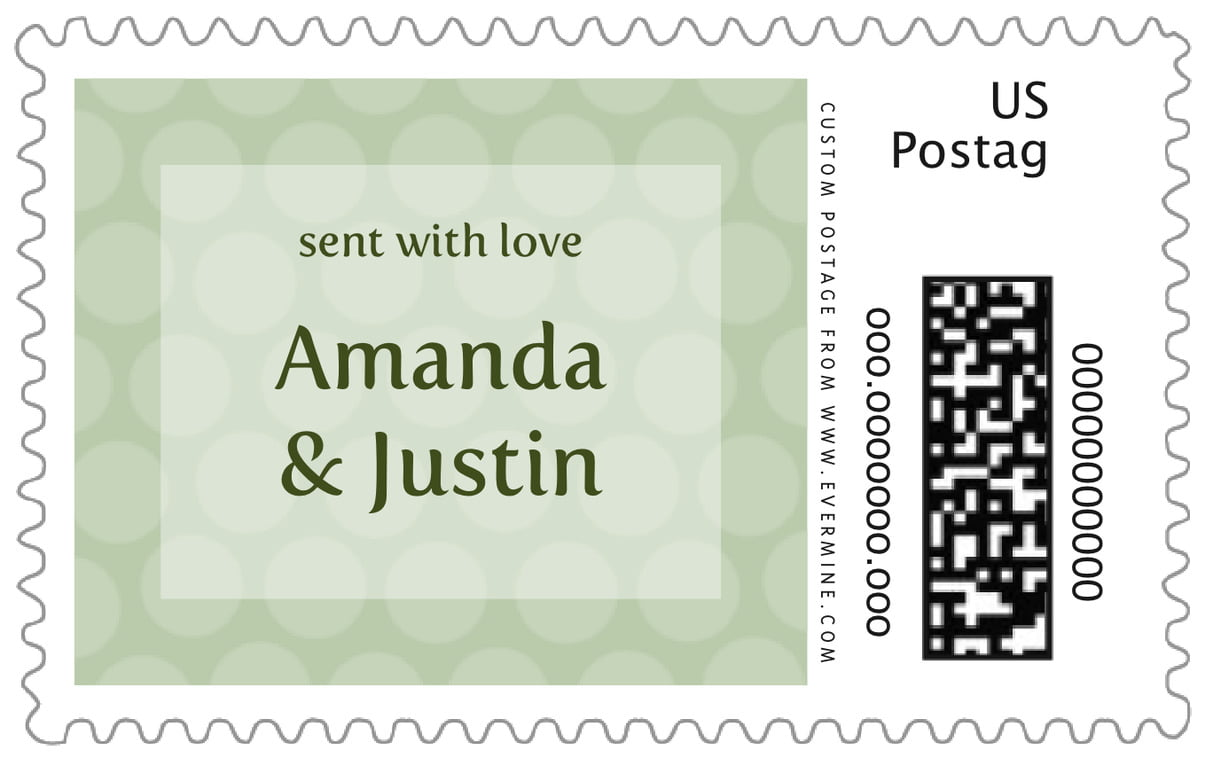 custom large postage stamps - sage - swiss dots (set of 20)