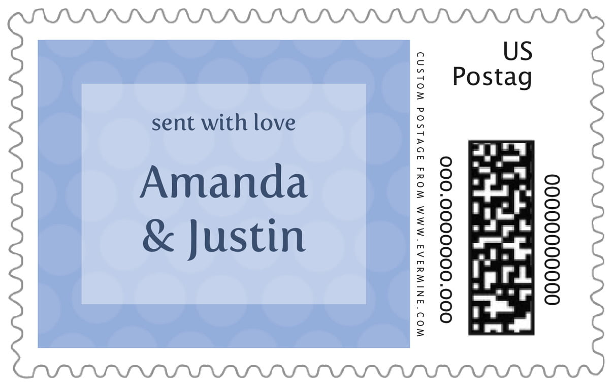 custom large postage stamps - periwinkle - swiss dots (set of 20)