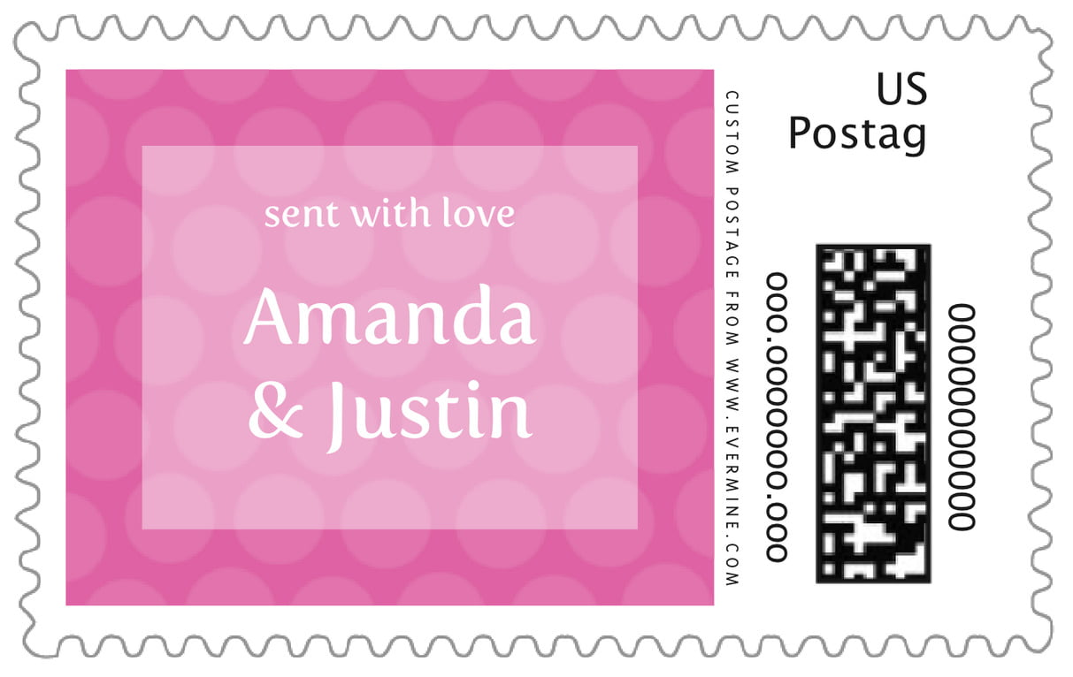 custom large postage stamps - bright pink - swiss dots (set of 20)