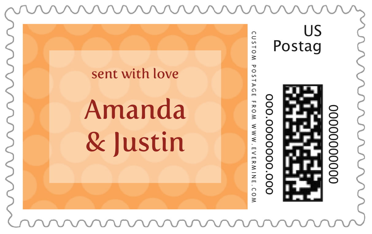 custom large postage stamps - tangerine - swiss dots (set of 20)