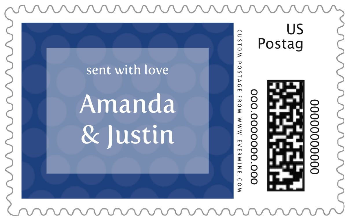 custom large postage stamps - deep blue - swiss dots (set of 20)