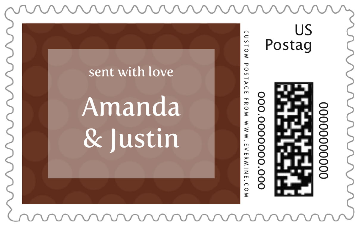 custom large postage stamps - chocolate - swiss dots (set of 20)