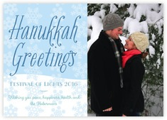 Snowflakes Drift Photo Cards - Horizontal In Ice Blue