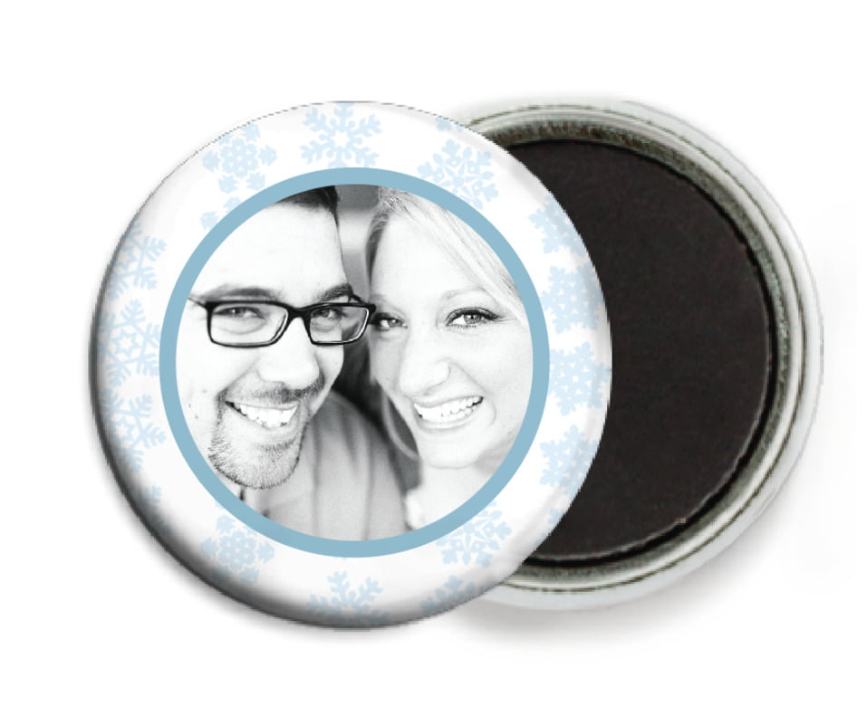 custom button magnets - ice blue - snowflakes drift (set of 6)