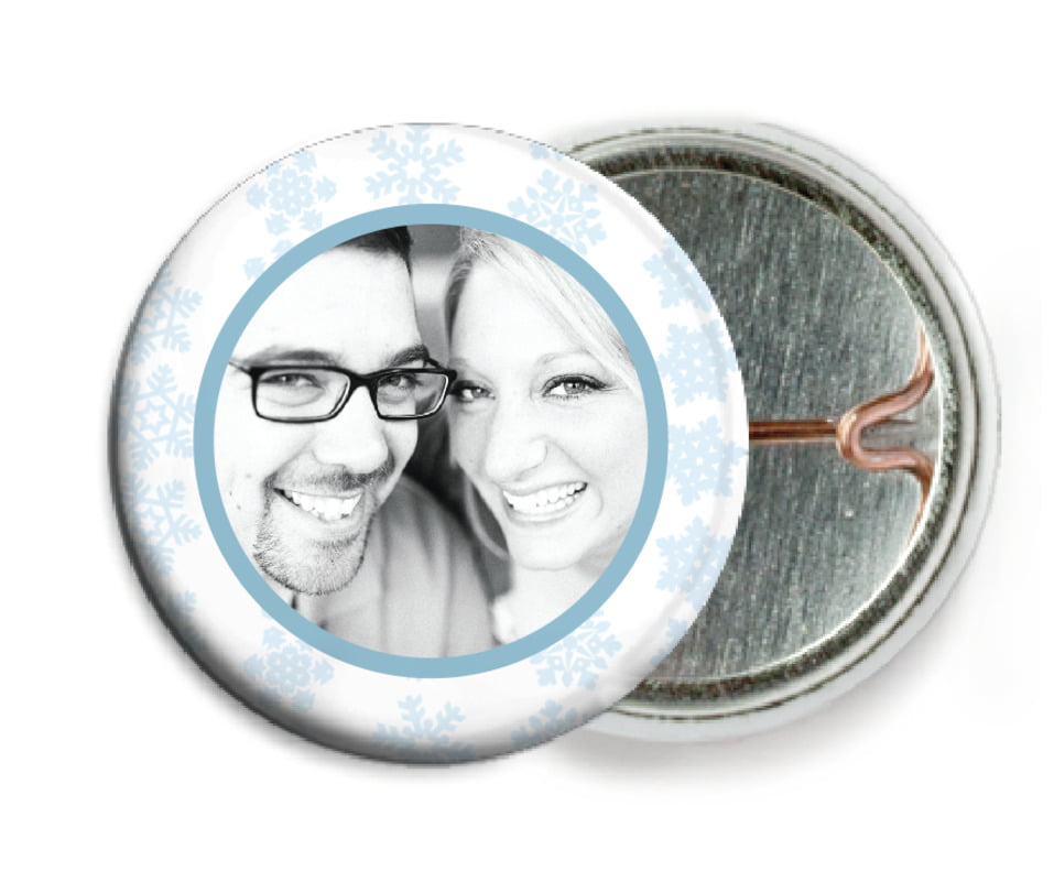 custom pin back buttons - ice blue - snowflakes drift (set of 6)