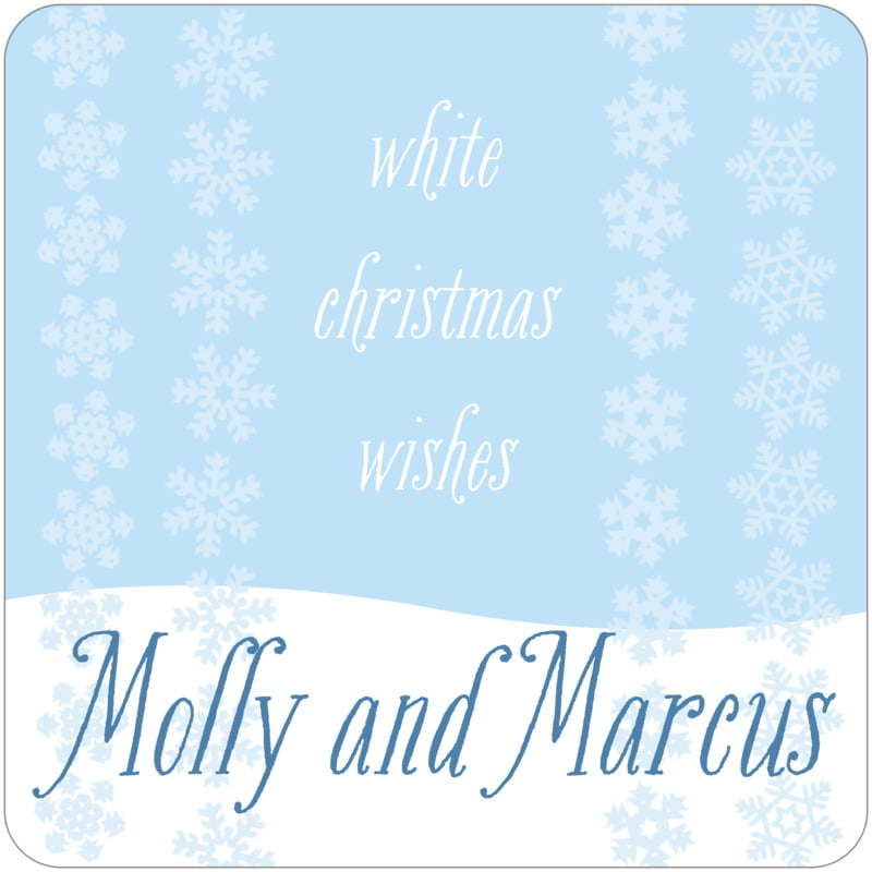 square holiday coasters - ice blue - snowflakes drift (set of 12)