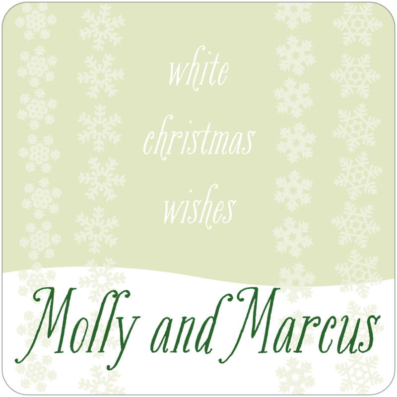square holiday coasters - mint green - snowflakes drift (set of 12)