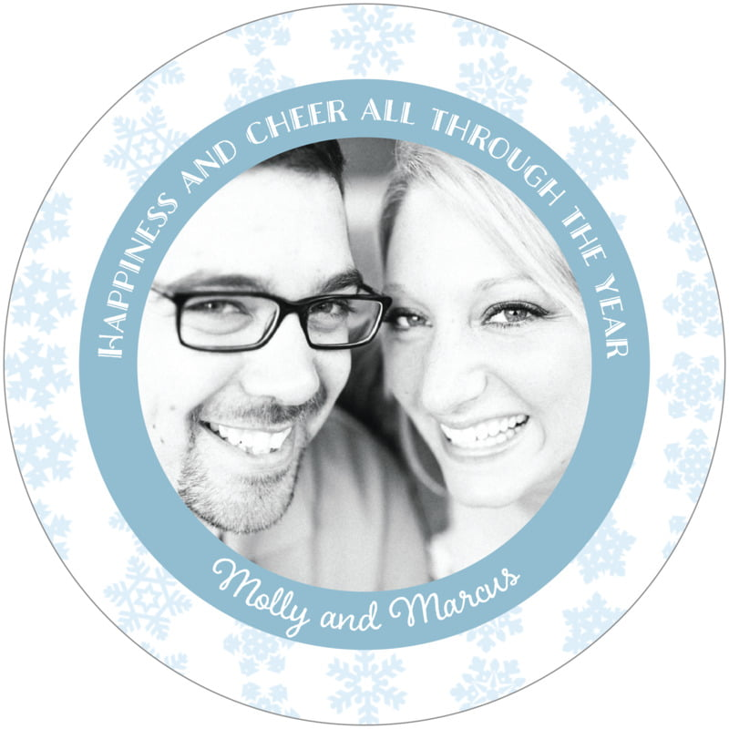 round holiday coasters - ice blue - snowflakes drift (set of 12)