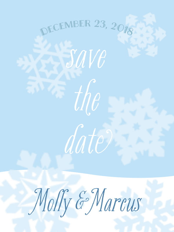 custom tall save the date cards - ice blue - snowflakes drift (set of 10)