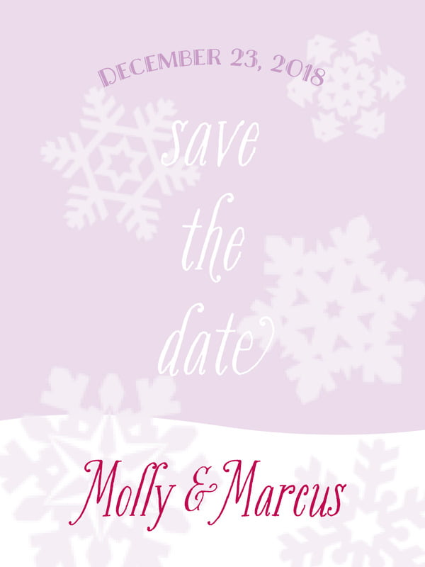 custom tall save the date cards - lilac - snowflakes drift (set of 10)