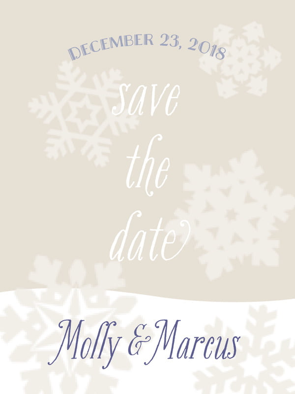 custom tall save the date cards - champagne - snowflakes drift (set of 10)