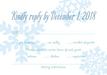 custom response cards - ice blue - snowflakes drift (set of 10)