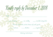 custom response cards - mint green - snowflakes drift (set of 10)