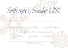 custom response cards - champagne - snowflakes drift (set of 10)