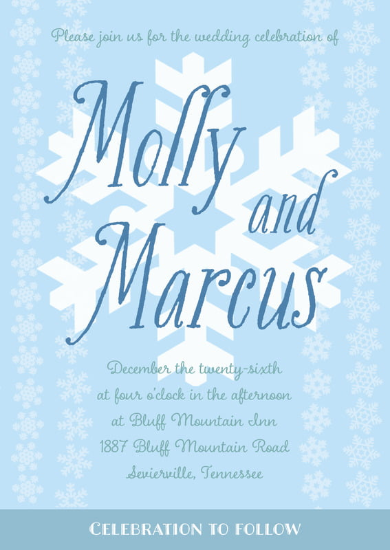 custom invitations - ice blue - snowflakes drift (set of 10)