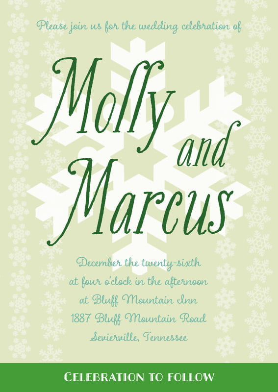 custom invitations - mint green - snowflakes drift (set of 10)