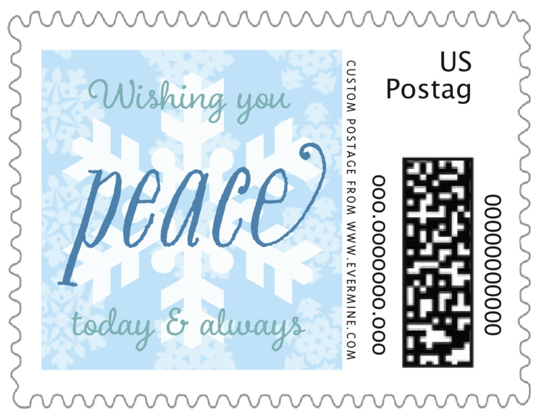 small custom postage stamps - ice blue - snowflakes drift (set of 20)