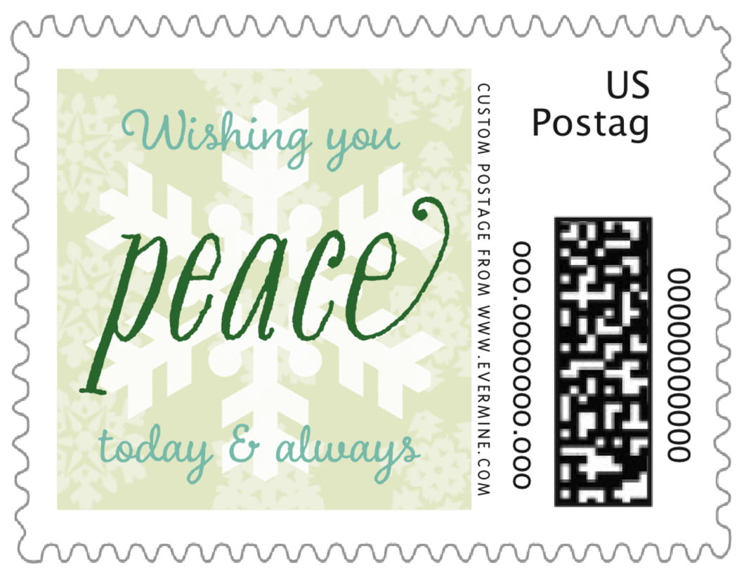 small custom postage stamps - mint green - snowflakes drift (set of 20)