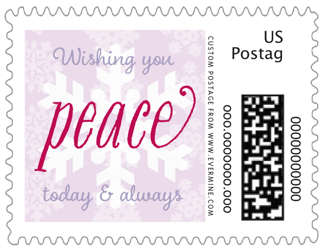 small custom postage stamps - lilac - snowflakes drift (set of 20)